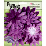 Petaloo - Flora Doodles Collection - Layering Fabric and Glitter Flowers - Daisies - Large - Plum