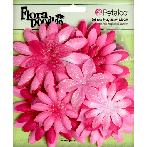 Petaloo - Flora Doodles Collection - Layering Fabric and Glitter Flowers - Daisies - Large - Fuschia