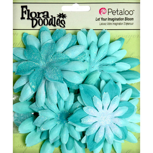 Petaloo - Flora Doodles Collection - Layering Fabric and Glitter Flowers - Daisies - Large - Aqua Blue
