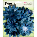 Petaloo - Flora Doodles Collection - Layering Fabric and Glitter Flowers - Daisies - Large - Deep Blue