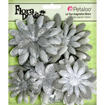 Petaloo - Flora Doodles Collection - Layering Fabric and Glitter Flowers - Daisies - Large - Silver Gray