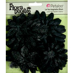 Petaloo - Flora Doodles Collection - Layering Fabric and Glitter Flowers - Daisies - Large - Black