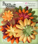Petaloo - Flora Doodles Collection - Layering Fabric and Glitter Flowers - Daisies - Large - Autumn
