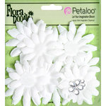 Petaloo - Flora Doodles Collection - Layering Fabric and Glitter Flowers - Daisies - Small - White
