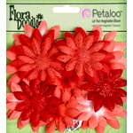 Petaloo - Flora Doodles Collection - Layering Fabric and Glitter Flowers - Daisies - Small - Poppy Red