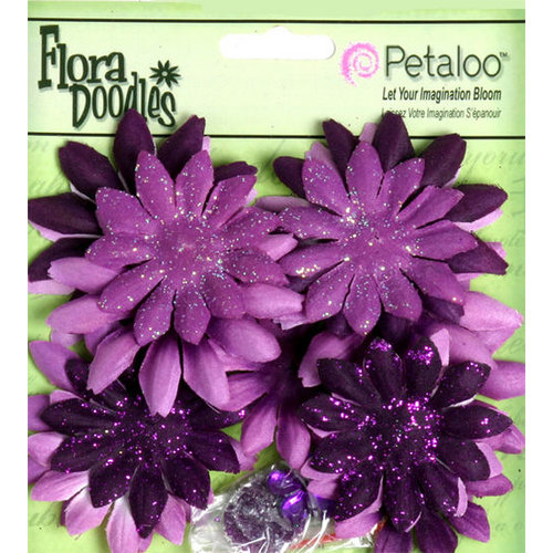 Petaloo - Flora Doodles Collection - Layering Fabric Flowers - Daisies - Small - Plum