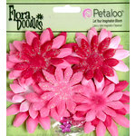 Petaloo - Flora Doodles Collection - Layering Fabric and Glitter Flowers - Daisies - Small - Fuschia