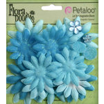 Petaloo - Flora Doodles Collection - Layering Fabric Flowers - Daisies - Small - Soft Blue