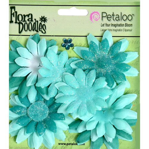 Petaloo - Flora Doodles Collection - Layering Fabric and Glitter Flowers - Daisies - Small - Aqua Blue