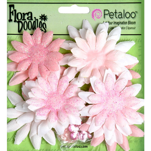 Petaloo - Flora Doodles Collection - Layering Fabric and Glitter Flowers - Daisies - Small - Soft Pink