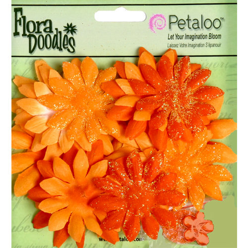 Petaloo - Flora Doodles Collection - Layering Fabric and Glitter Flowers - Daisies - Small - Orangeade