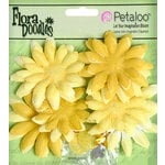 Petaloo - Flora Doodles Collection - Layering Fabric and Glitter Flowers - Daisies - Small - Canary Yellow