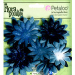 Petaloo - Flora Doodles Collection - Layering Fabric and Glitter Flowers - Daisies - Small - Deep Blue