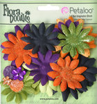 Petaloo - Flora Doodles Collection - Layering Fabric and Glitter Flowers - Daisies - Small - Halloween