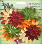 Petaloo - Flora Doodles Collection - Layering Fabric and Glitter Flowers - Daisies - Small - Autumn