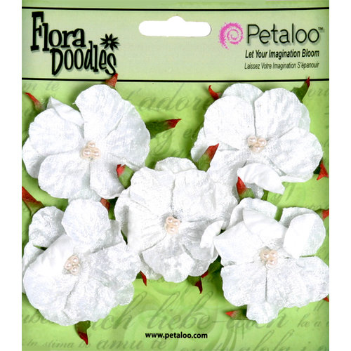 Petaloo - Flora Doodles Collection - Velvet Wild Roses - Small - White