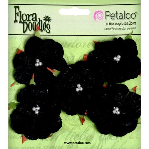 Petaloo - Flora Doodles Collection - Velvet Wild Roses - Small - Black