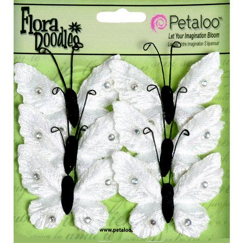 Petaloo - Flora Doodles Collection - Velvet Butterflies - Medium - White