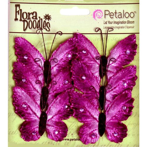 Petaloo - Flora Doodles Collection - Velvet Butterflies - Medium - Plum