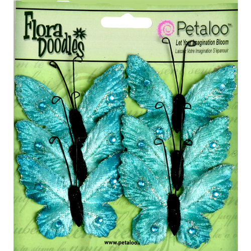 Petaloo - Flora Doodles Collection - Velvet Butterflies - Medium - Aqua Blue