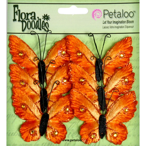 Petaloo - Flora Doodles Collection - Velvet Butterflies - Medium - Orangeade