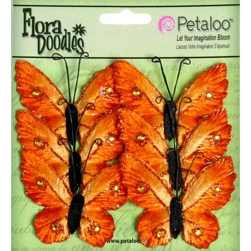 Petaloo - Flora Doodles Collection - Velvet Butterflies - Medium - Orangeade