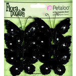 Petaloo - Flora Doodles Collection - Velvet Butterflies - Medium - Black