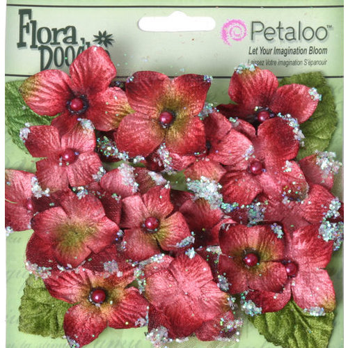 Petaloo - Flora Doodles Collection - Velvet Hydrangeas - Burgundy