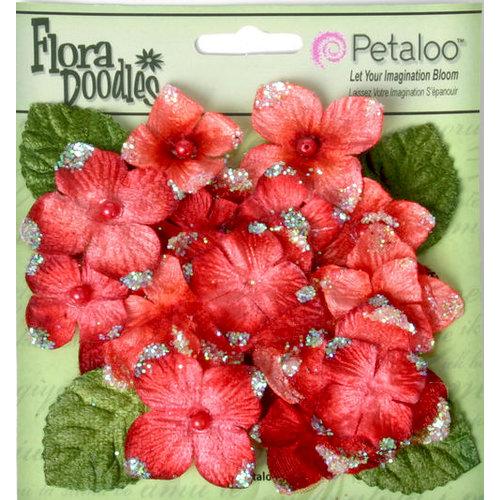 Petaloo - Flora Doodles Collection - Velvet Hydrangeas - Red