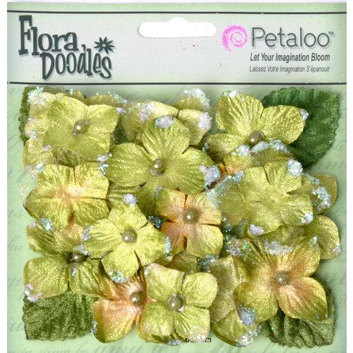Petaloo - Flora Doodles Collection - Velvet Hydrangeas - Green