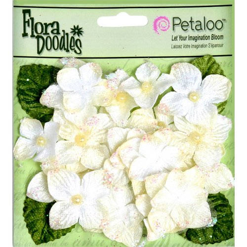 Petaloo - Flora Doodles Collection - Velvet Hydrangeas - Cream