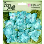 Petaloo - Flora Doodles Collection - Velvet Hydrangeas - Aqua Blue