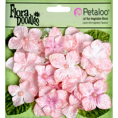 Petaloo - Flora Doodles Collection - Velvet Hydrangeas - Soft Pink