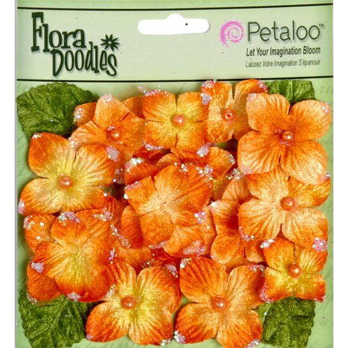 Petaloo - Flora Doodles Collection - Velvet Hydrangeas - Orangeade