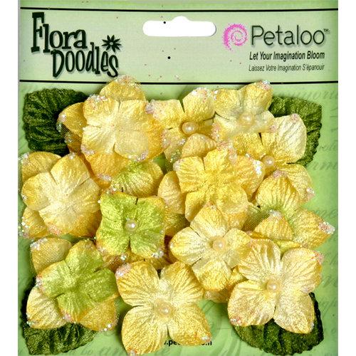 Petaloo - Flora Doodles Collection - Velvet Hydrangeas - Canary Yellow