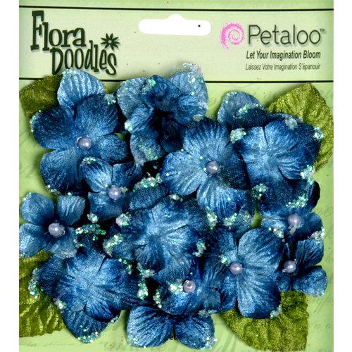 Petaloo - Flora Doodles Collection - Velvet Hydrangeas - Deep Blue