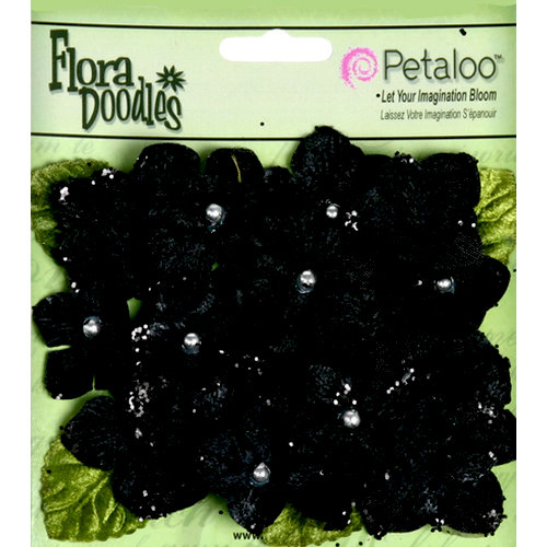 Petaloo - Flora Doodles Collection - Velvet Hydrangeas - Black