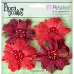 Petaloo - Flora Doodles Collection - Beaded Peonies - Small - Red and Burgundy
