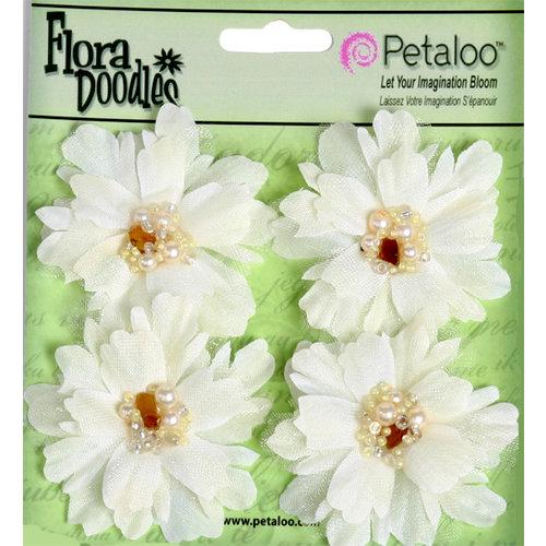 Petaloo - Flora Doodles Collection - Beaded Peonies - Small - Cream