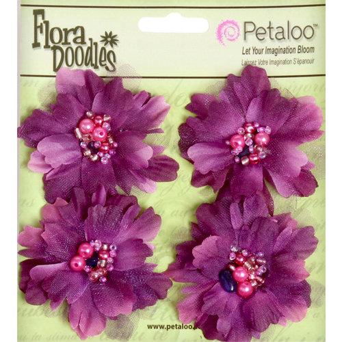 Petaloo - Flora Doodles Collection - Beaded Peonies - Small - Plum