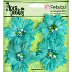 Petaloo - Flora Doodles Collection - Beaded Peonies - Small - Aqua Blue