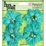 Petaloo - Flora Doodles Collection - Beaded Peonies - Small - Aqua Blue