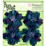 Petaloo - Flora Doodles Collection - Beaded Peonies - Small - Deep Blue