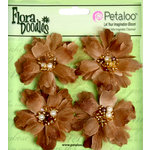 Petaloo - Flora Doodles Collection - Beaded Peonies - Small - Coffee