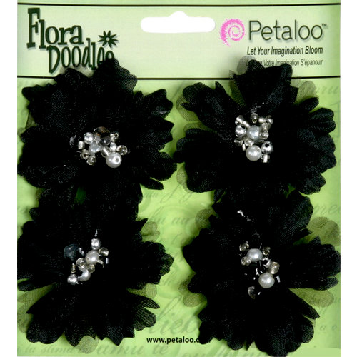 Petaloo - Flora Doodles Collection - Beaded Peonies - Small - Black