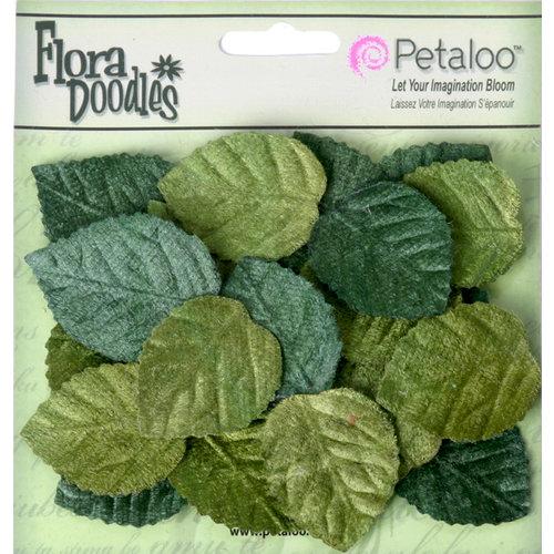 Petaloo - Flora Doodles Collection - Velvet Holiday Floral - Velvet Leaves