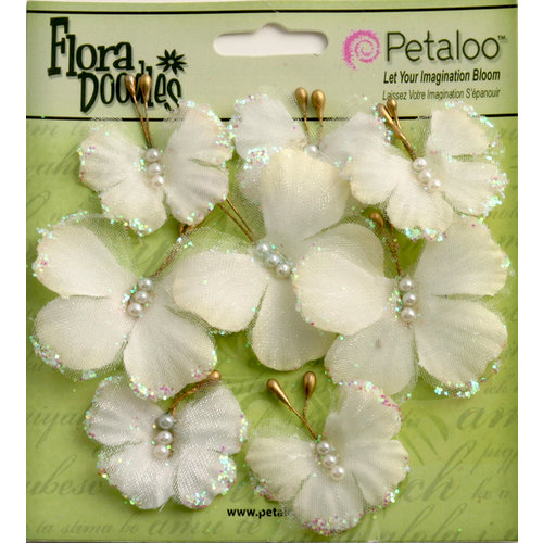 Petaloo - Flora Doodles Collection - Sheer Butterflies - Pearl