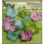 Petaloo - Flora Doodles Collection - Sheer Butterflies - Aqua Green and Purple