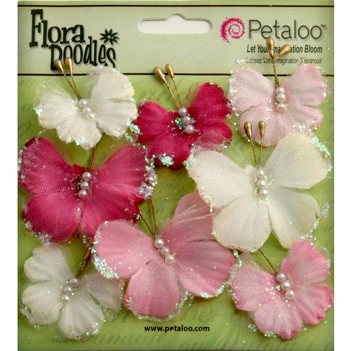 Petaloo - Flora Doodles Collection - Sheer Butterflies - Pink Fuchsia and Pearl