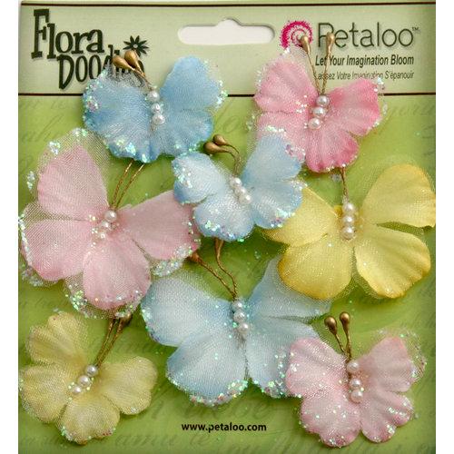 Petaloo - Flora Doodles Collection - Sheer Butterflies - Blue Pink and Yellow